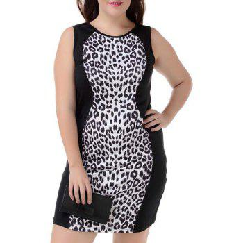 Plus Size Leopard Sleeveless Bodycon Dress