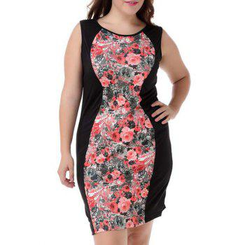 Buy Plus Size Elegant Sleeveless Floral Dress COLORMIX