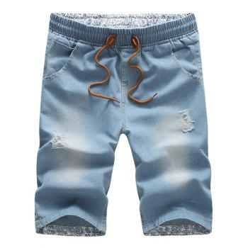 Buy Casual Drawstring Waistband Distressed Design Denim Shorts Men LIGHT BLUE