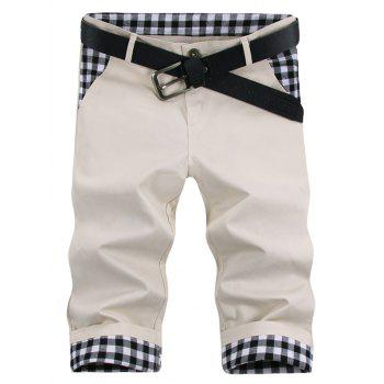 Zipper Fly Straight Leg Checked Spliced Design Men's Capri Pants