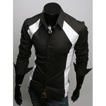 Color Block Spliced Slimming Turn-Down Collar Long Sleeve Men's Shirt