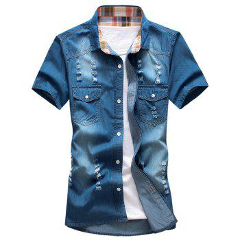 Turn-Down Collar Holes Design Bleach Wash Short Sleeve Men's Denim Shirt