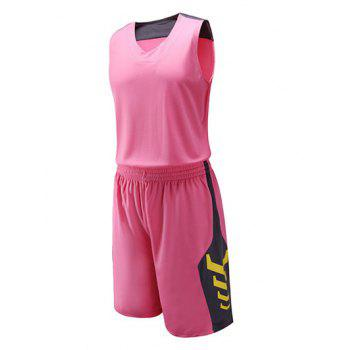 Color Block Spliced Geometric Print V-Neck Sleeveless Sport Suit ( Tank Top + Shorts )