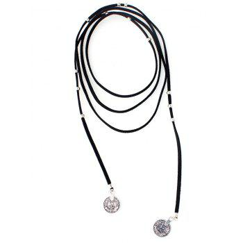 Layered Coin Wrap Necklace - BLACK