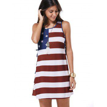 Scoop Neck Flag Pattern Tie-Up Casual Dress