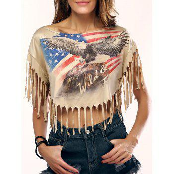 Chic Eagle Print Fringed Crop Top For Women