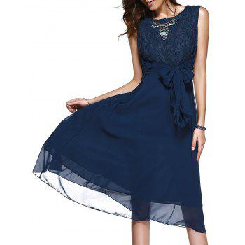 Sleeveless Lace Inset Casual A Line Dress