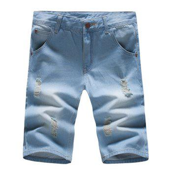 Stylish Slim Fit Light Wash Denim Shorts For Men