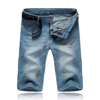 Zipper Fly Distressed Men's Denim Shorts
