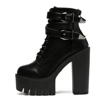 Stylish Tie Up and Double Buckle Design Women's Short Boots - BLACK 39