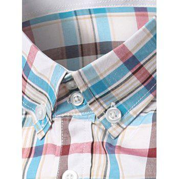 Classic Turn-Down Collar Long Sleeves Blue and Red Plaid Shirt For Men - BLUE/RED M