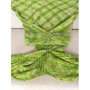 Super Soft Crochet Knitted Fashion Mermaid Tail Shape Blanket For Adult - APPLE GREEN