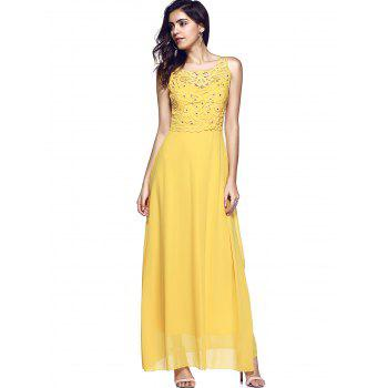 Embroidery Open Back Beaded Dress - YELLOW M
