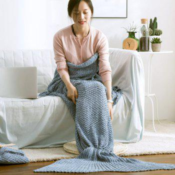 Hot Sale Coton Tricoté Solid Color Mermaid Tail Blanket - Bleu L