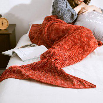High Quality Yarn Knitted Mermaid Tail Blanket - RED M