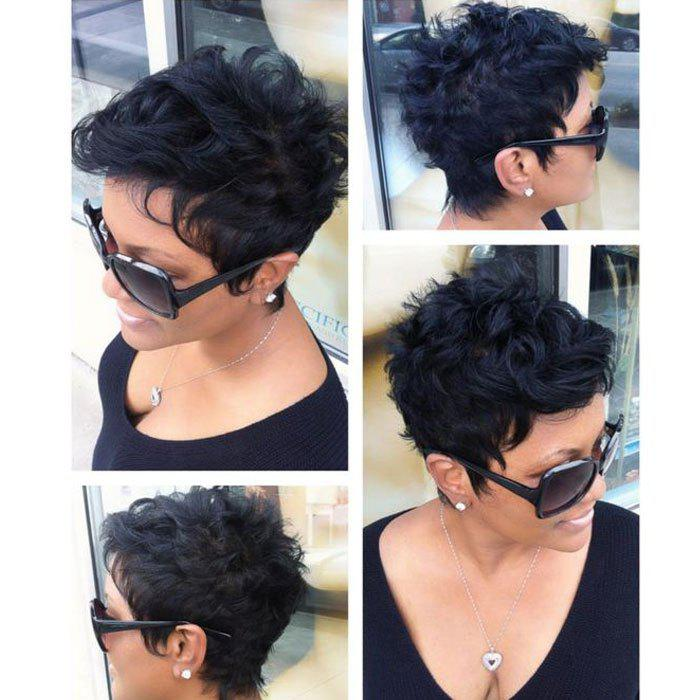 Virile Jet Black Short Curly Human Hair Capless Wig For Women