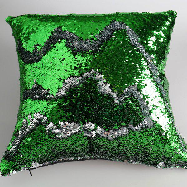 Creative DIY Pattern Green Silvery Two Tone Sequins Pillow Case - GREEN