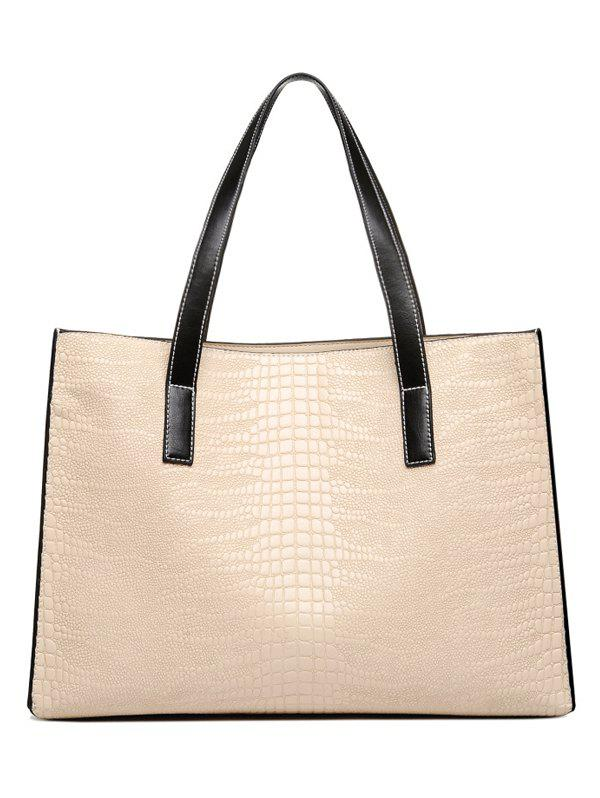 Concise  Crocodile Embossed and PU Leather Design Women's Shoulder Bag - BEIGE