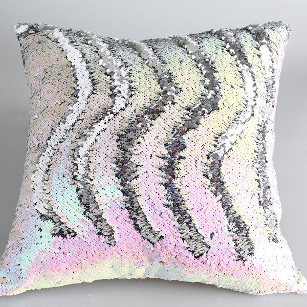 Creative DIY Pattern Iridescent Silvery Two Tone Sequins Pillow Case - COLORMIX