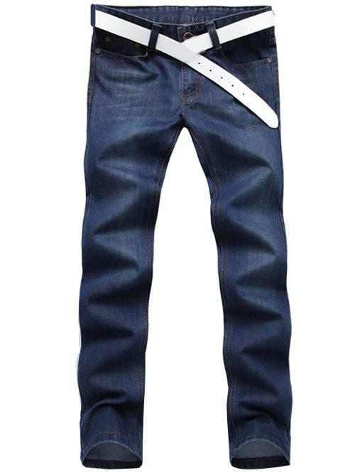 Classic Slim Fit Mid Wash Skinny Legs Thin Jeans For Men - DEEP BLUE 34
