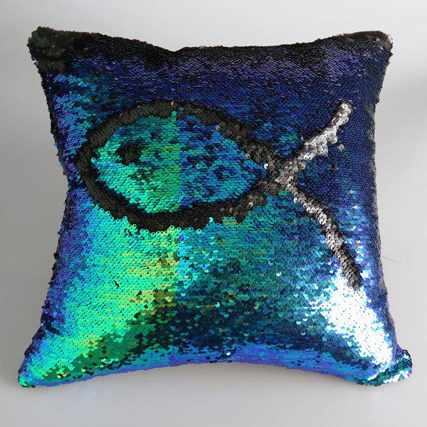 Creative DIY Pattern Gradient Blue Black Two Tone Sequins Pillow Case - BLUE