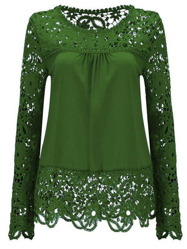 Solid Color Lace Spliced Hollow Out Blouse - GREEN 3XL