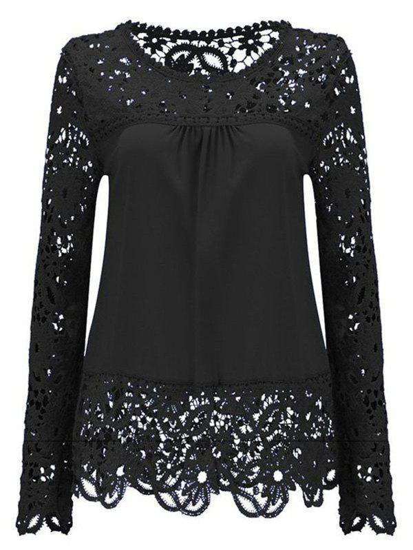 Solid Color Lace Spliced Hollow Out Blouse - BLACK M