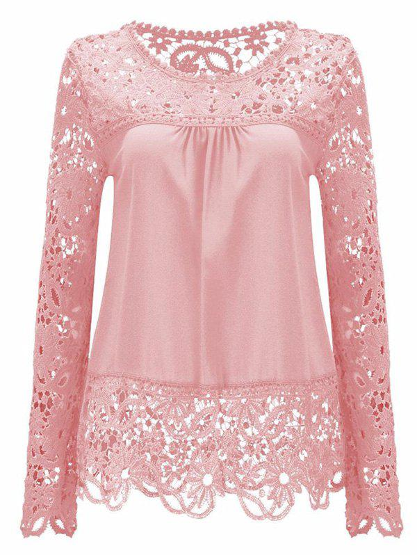Solid Color Lace Spliced Hollow Out Blouse - PINK M
