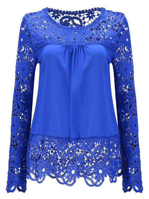 Solid Color Lace Spliced Hollow Out Blouse - DEEP BLUE 2XL