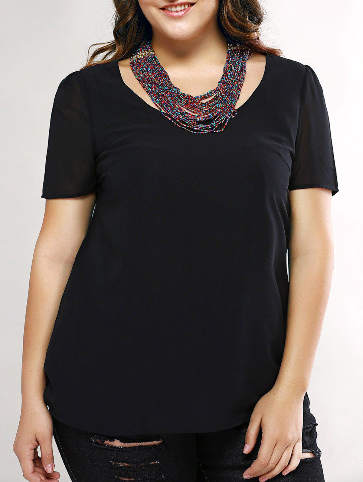 Plus Size Trendy Cut Out Black Blouse - BLACK L