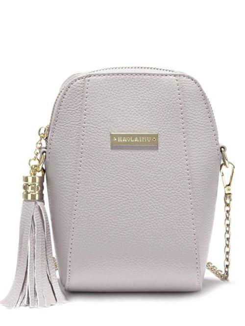 Trendy Tassel and PU Leather Design Women's Crossbody Bag - GRAY