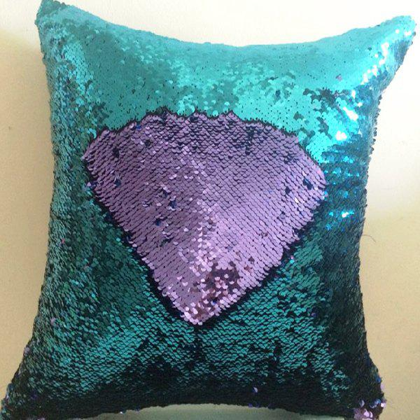 Creative DIY Pattern Purple Blue Two Tone Sequins Pillow Case - BLUE