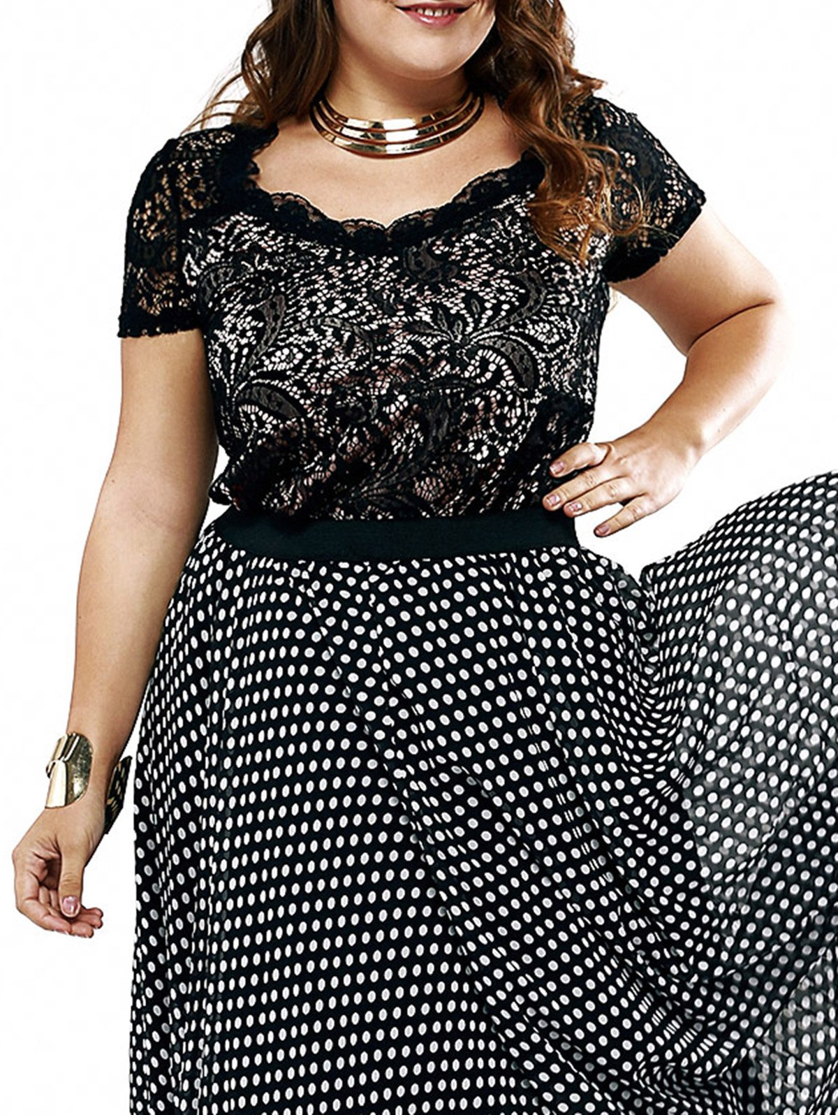 Plus Size Chic Lace Patchwork Layered Blouse - BLACK XL