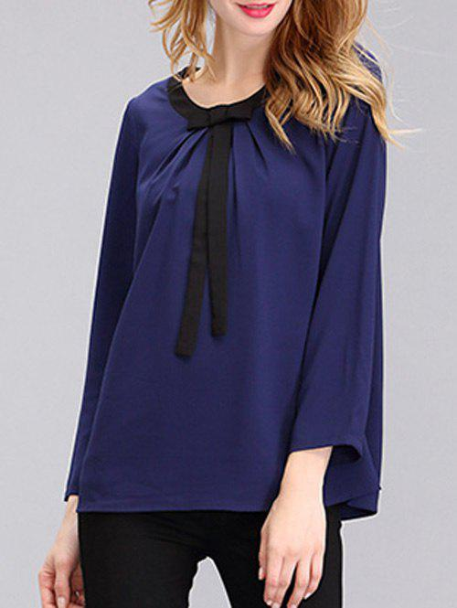 Simple Womens Pure Color Jewel Neck Bowknot Chiffon BlouseWomen<br><br><br>Size: L<br>Color: PURPLISH BLUE