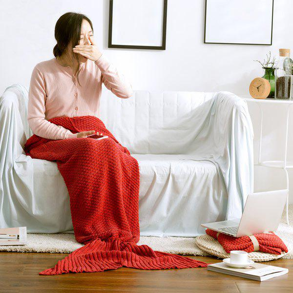 Hot Sale Soft Knitted Mermaid Tail Blanket - L RED