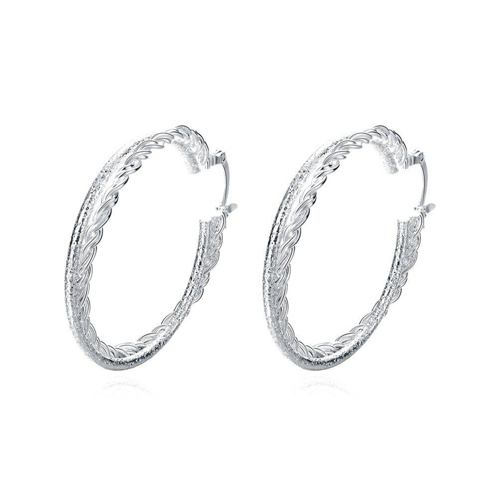 Pair of Silver Plated Double Layered Round Hoop Earrings - SILVER