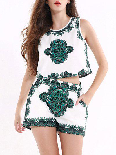 Vintage Tribal Print Crop Top + Mini Short Twinset - GREEN 3XL