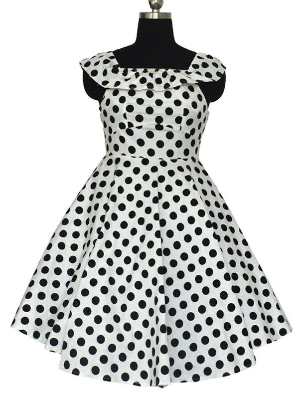 Retro Polka Dot Convertible Flouncing Dress - WHITE 2XL