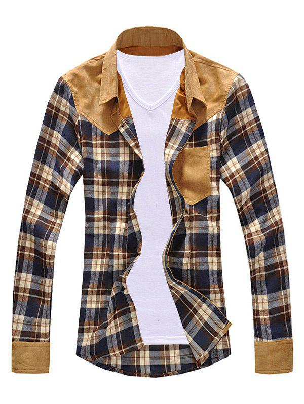Turn-Down Collar Suede Splicing Checked Long Sleeve Men's Shirt - COFFEE 2XL