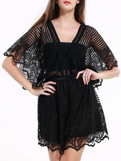 Black Lace Spliced Hollow Out Romper - BLACK 3XL