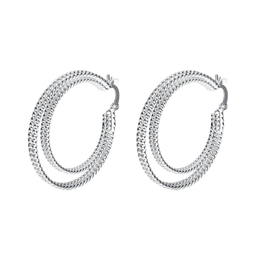 Pair of Simple Silver Plated Double Circle Hoop Earrings For Women