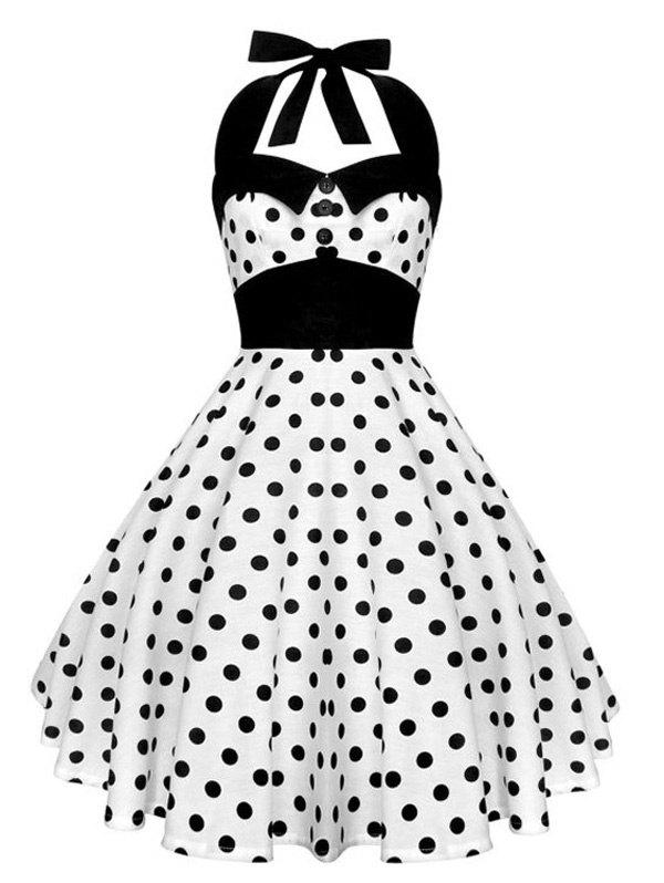 Vintage Halter Polka Dot Backless Corset  Dress от Dresslily.com INT