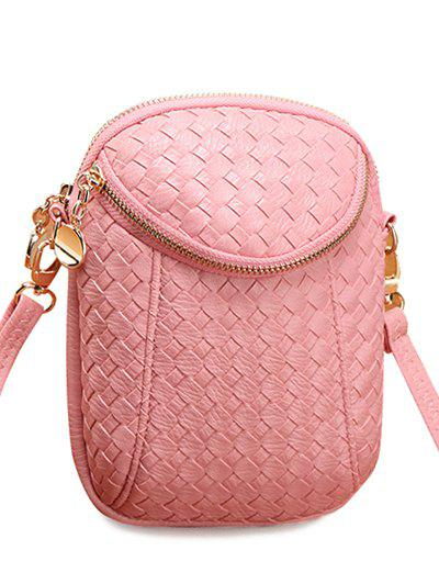 Simple Weaving and Zip Design Women's Crossbody Bag - PINK