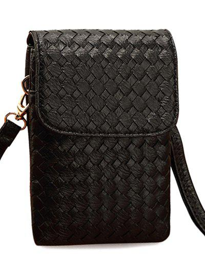 Concise Weaving and Cover Design Women's Crossbody Bag - BLACK