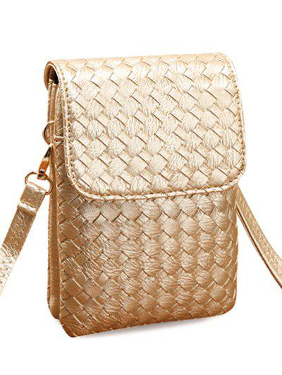 Concise Weaving and Cover Design Womens Crossbody BagBags<br><br><br>Color: GOLDEN