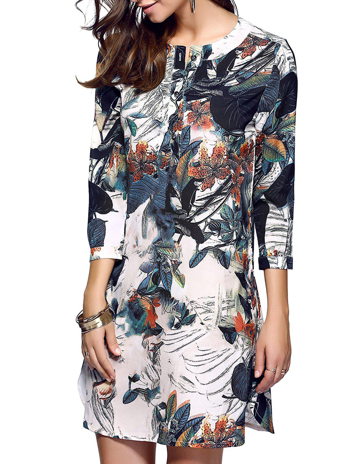 Classical Beauty Print One Button Dress от Dresslily.com INT