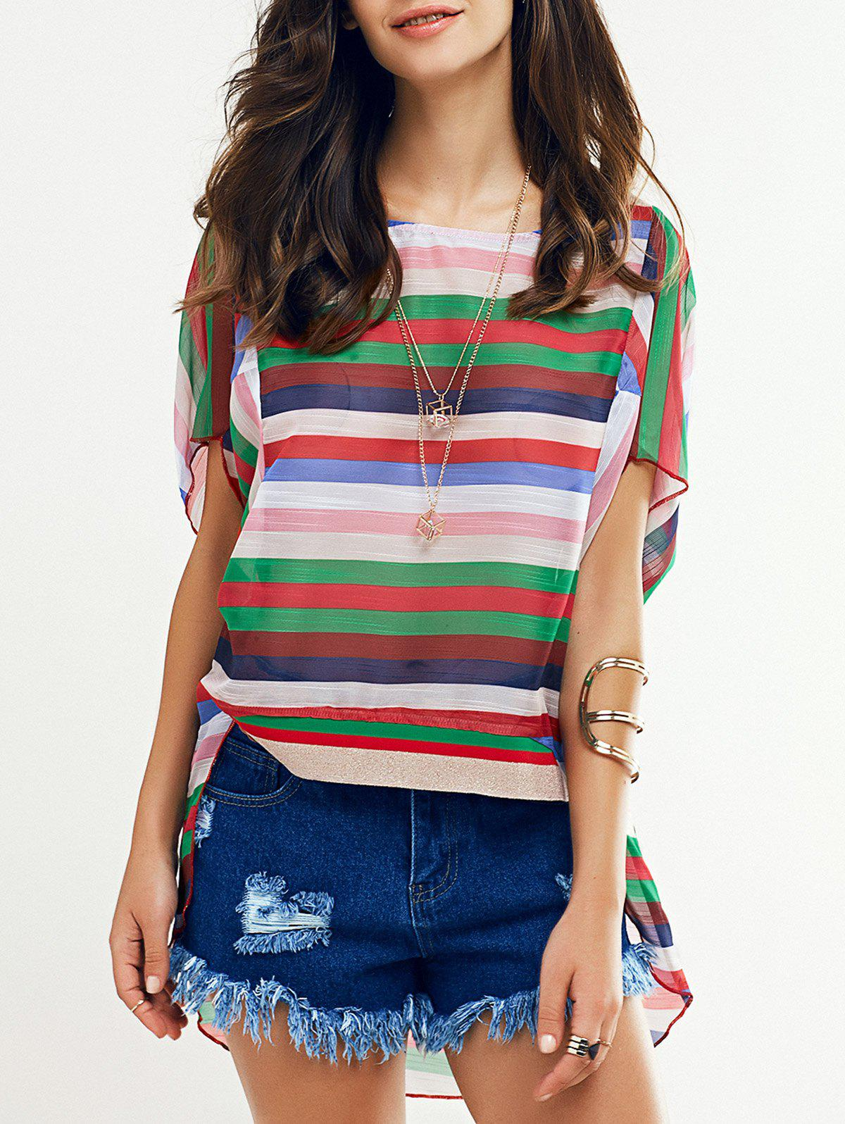 Colorful Batwing Sleeve Striped T-Shirt For Women - COLORMIX XL