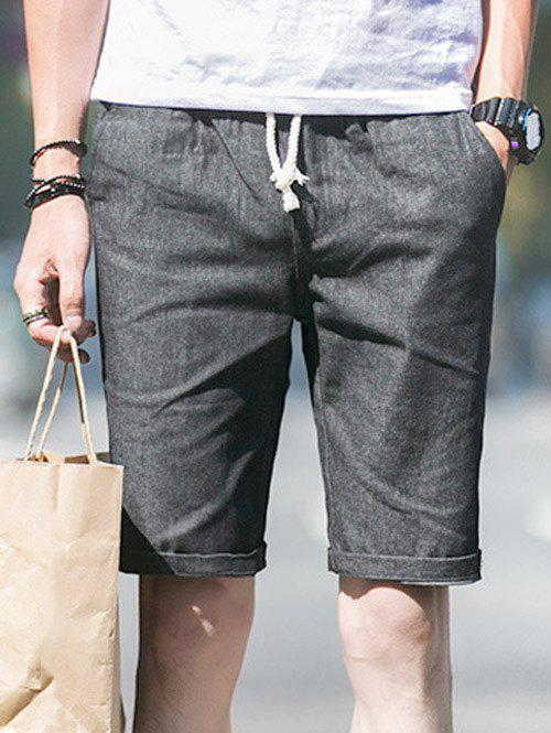 Drawstring Cuffed Men's Bermuda Shorts - DEEP GRAY M