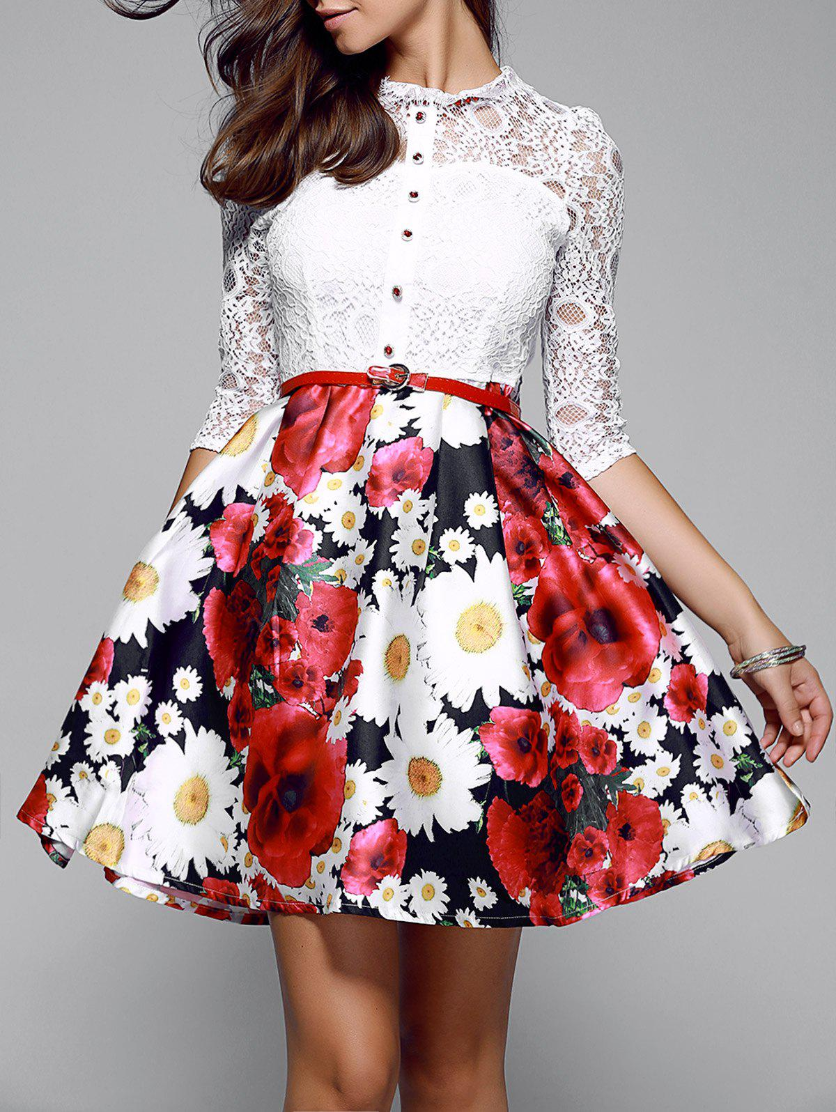 Lace Splicing Floral Print Dress - WHITE XL