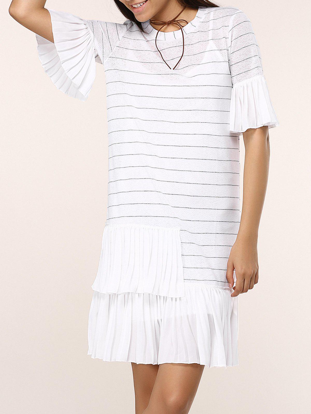 Striped Knitted Flare SLeeve Ruffled Dress Twinset knitted striped mini dress